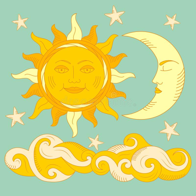 Illustration of Moon and Sun with faces stock photo