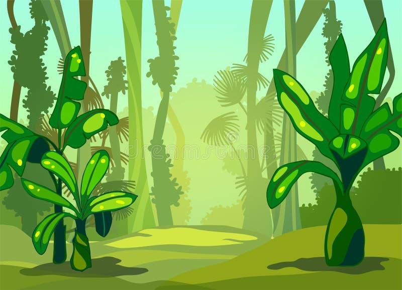 Illustration morning in the jungle. stock illustration