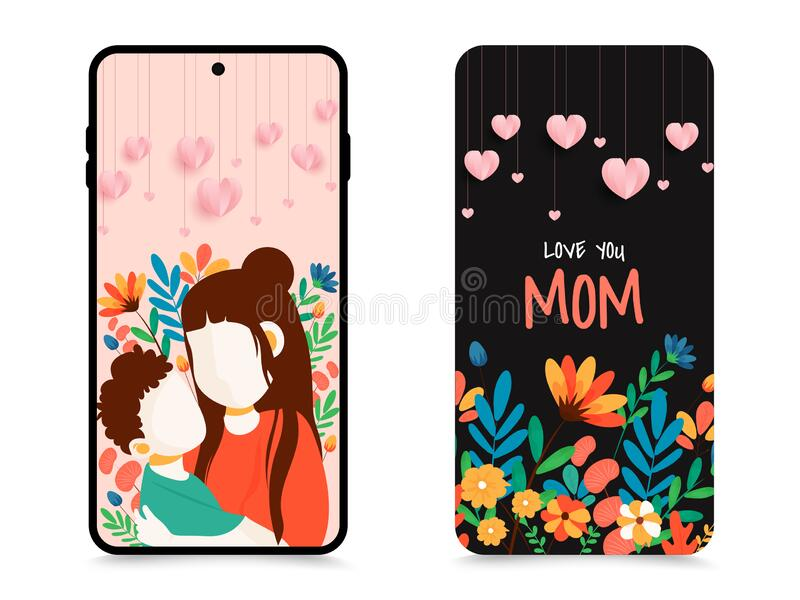 Illustration Of Mother And Child For Celebration Mothers Day Beautiful Mobile Wallpaper Or Back Cover Design Set Stock Illustration Illustration Of Bloom Cover 181614651