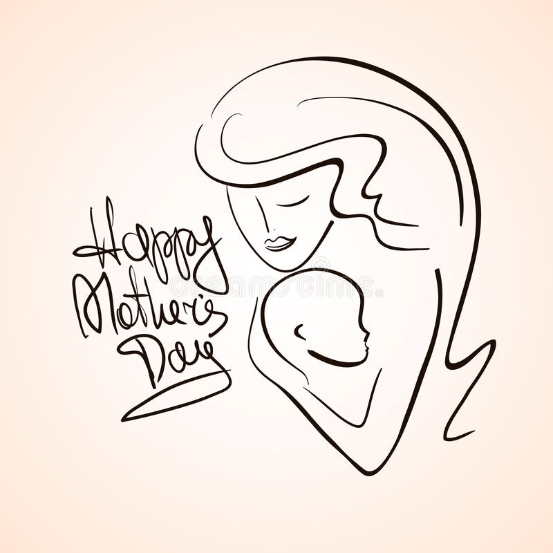 Illustration Of Mother And Child Silhouette. vector illustration