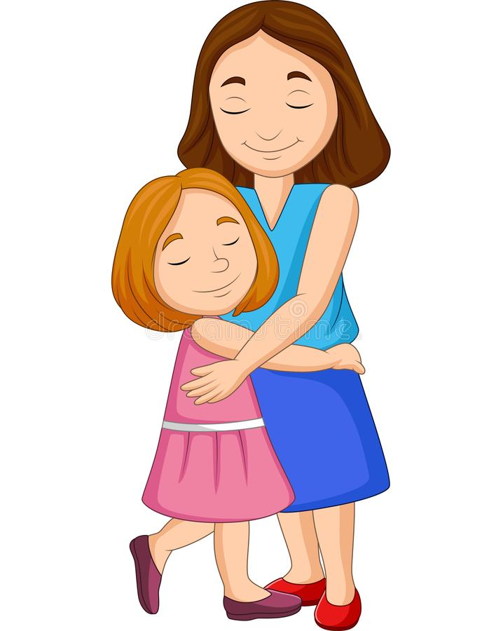 Mother and daughter hugging royalty free illustration