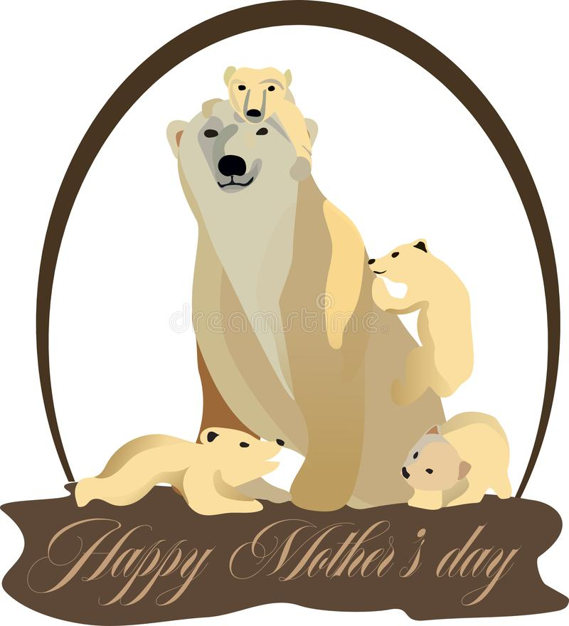 Illustration for mother`s day, cubs around her mother. Concept to mother`s day, cubs around her mother, vector illustration vector illustration