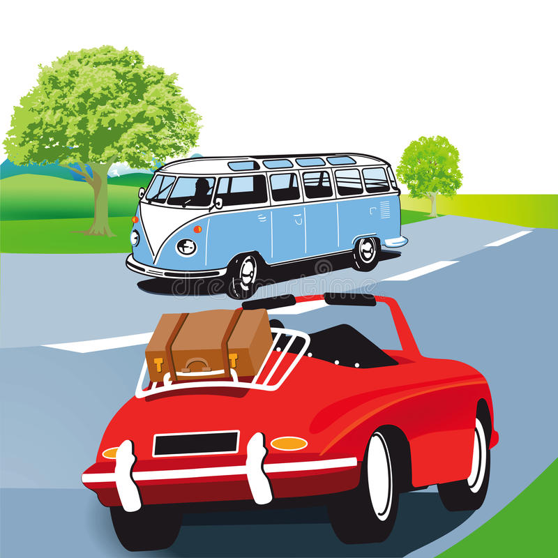 Motor caravan and sports car. Illustration of motor caravan (or minibus ) and red sports car with suitcase on the luggage rack traveling on a country road stock illustration