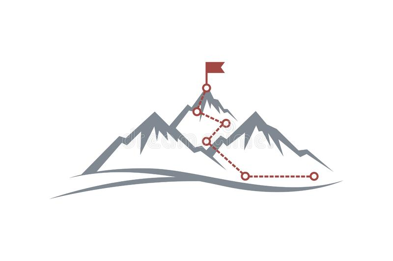 Mountain climbing route to peak. Illustration of mountain climbing route to peak isolated on white background royalty free illustration