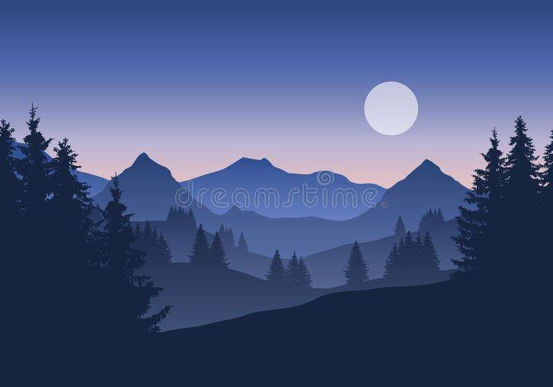 Illustration of mountain landscape with forest under blue morning or evening sky with moons, sunrise or sunset vector illustration