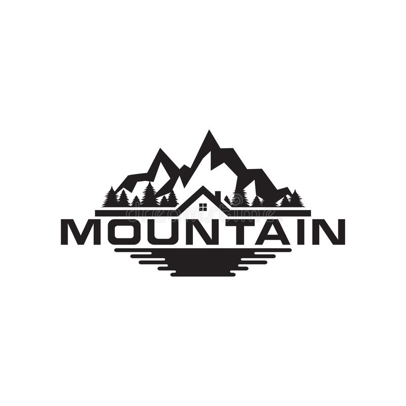 Illustration of mountain, trees, house and field logo royalty free illustration