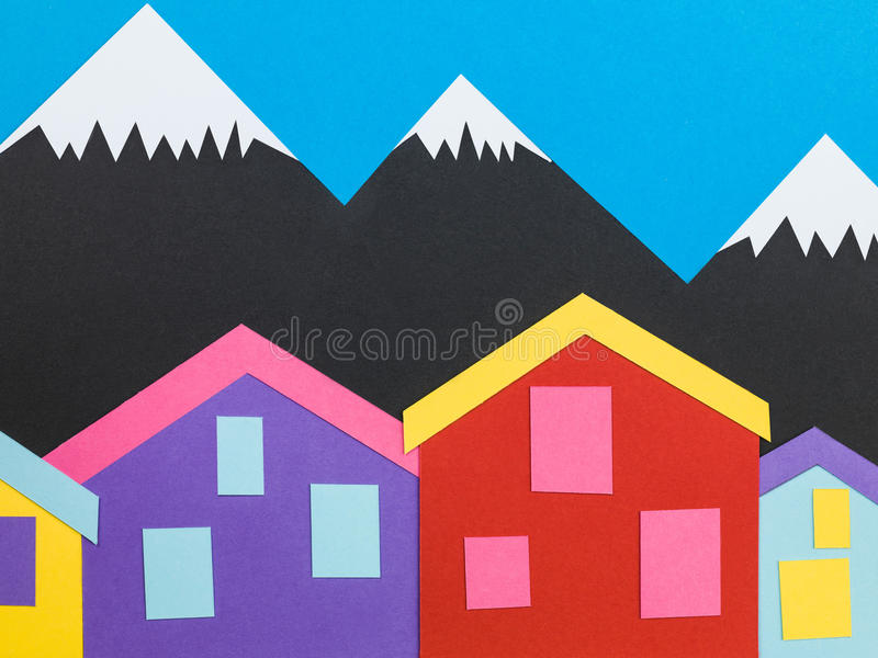 Illustration of a Mountainous Background With Chalets or Cabins. Illustration of a Mountainous Background Scene With Chalets or Cabins In The Foreground stock photography