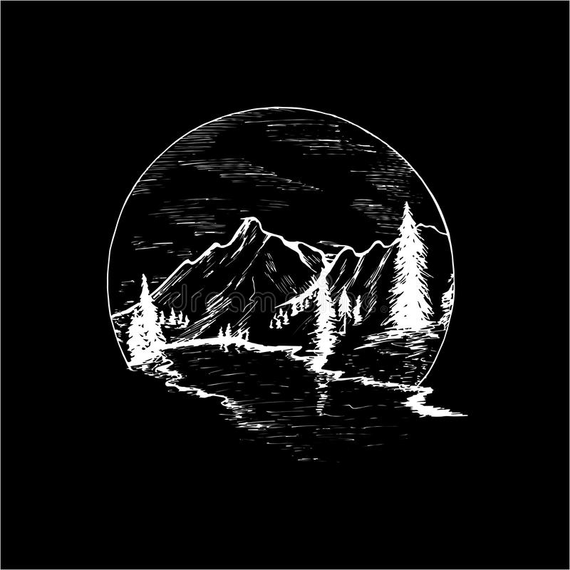 Illustration with mountains, firs and beautiful sky inscribed in a circle. Chalk on a blackboard. vector illustration
