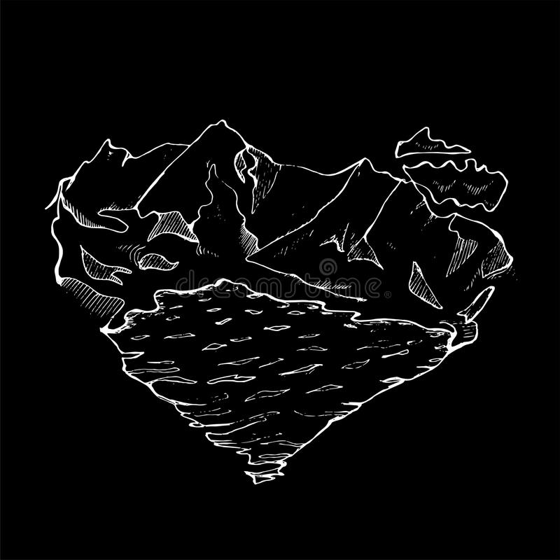 Illustration of mountains, lakes and clouds in the form of a heart. Done in the style of minimalism. Chalk on a blackboard. Illustration of mountains, lakes and stock illustration