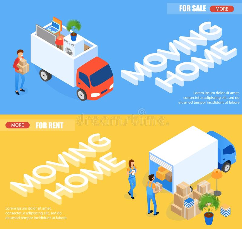 Illustration Moving Home for Rent and for Sale. Flat Banner Man in Uniform Loads Boxes into Van. Woman Stands Next to Truck and Checks List Cargo. Horizontal vector illustration