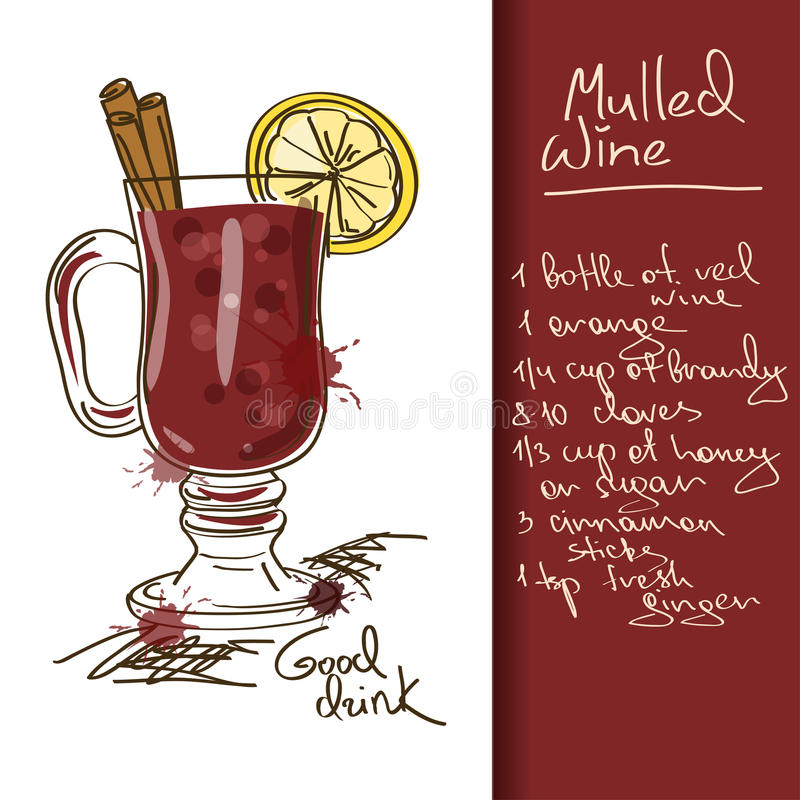 Illustration with Mulled Wine cocktail royalty free illustration