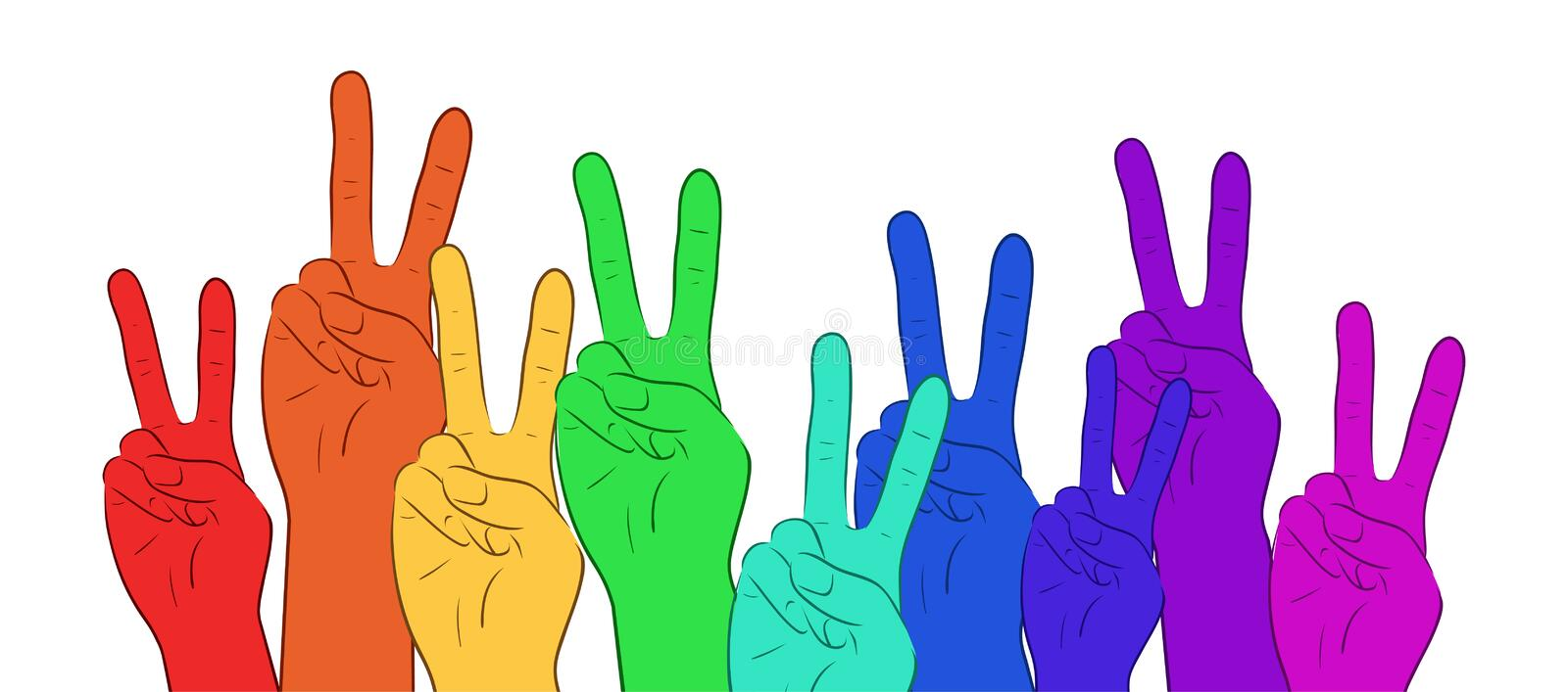 Illustration of multi colored rainbow hands, showing peace. Vector element for your creativity stock illustration
