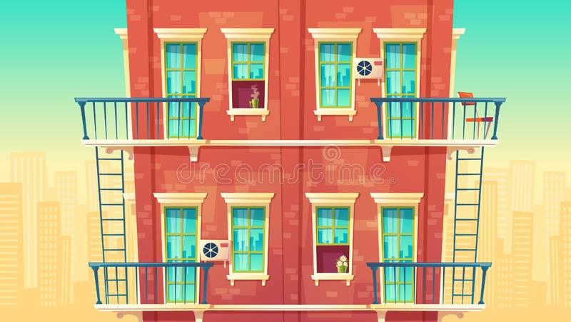 illustration of multi-storey apartment, house outside concept, private building. Architecture promo background vector illustration