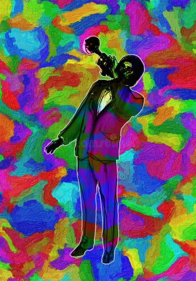 Illustration multi vive d'abrégé sur couleur de Jazz Trumpet Player classique illustration stock