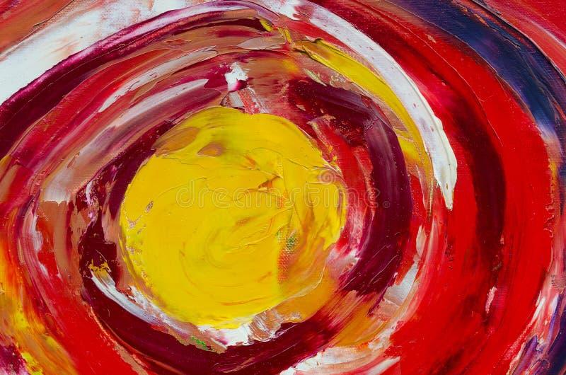 Illustration multicolore colorée de courses de brosse en huile sur la toile Texture de vue sup?rieure Ciel rouge avec un soleil j images libres de droits