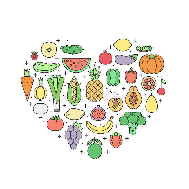 Illustration multicolore de coeur de vecteur d'ensemble de fruits et légumes Conception de Moinimalistic illustration libre de droits