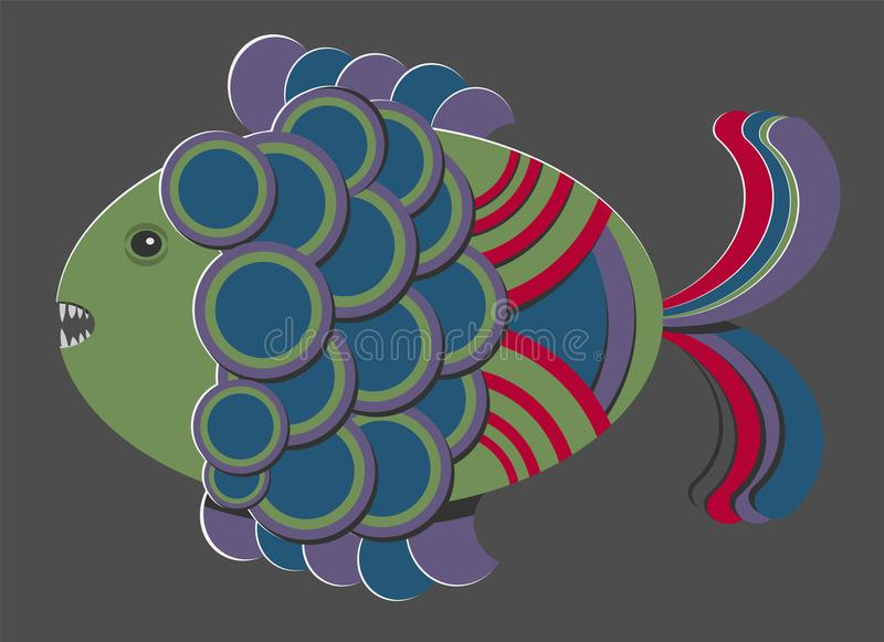 Illustration of a Multicolored Fish. With Blue Scutes vector illustration