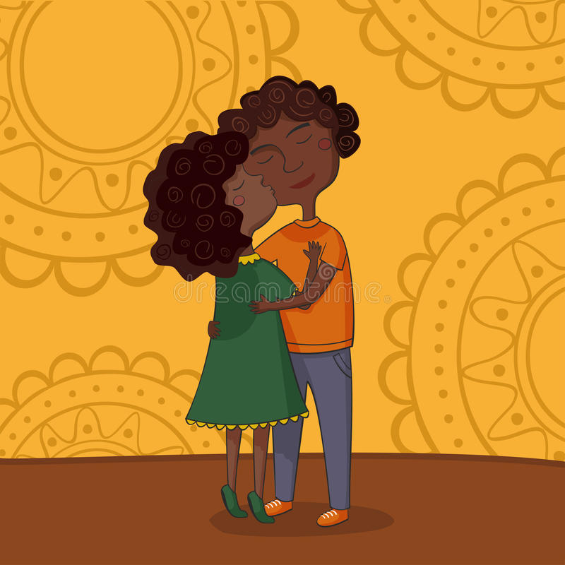 Download Illustration Of Multicultural Boy And Girl Kissing Stock Vector - Image: 30036284