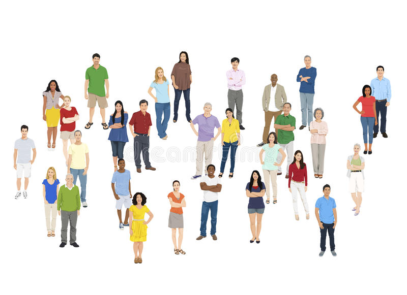 Illustration of Multiethnic People Isolated on White Concept.  royalty free illustration