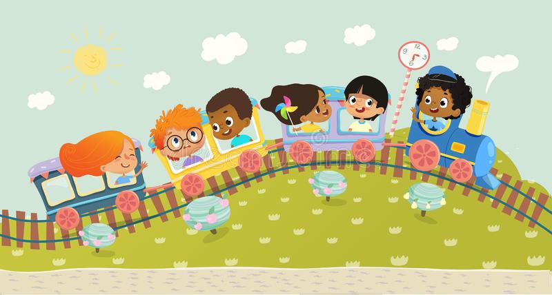 Illustration of the multiracial kids having trip on a train. School kids boys and girls laughing and traveling by vector illustration
