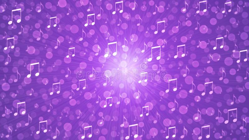 Abstract Music Notes Blast in Blurry Purple Background stock illustration