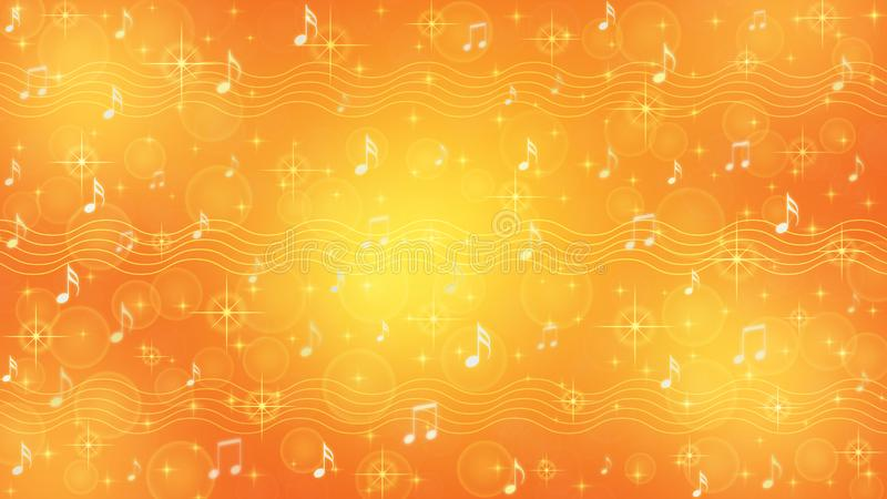Abstract Music Notes and Staves in Orange and Yellow Background royalty free illustration