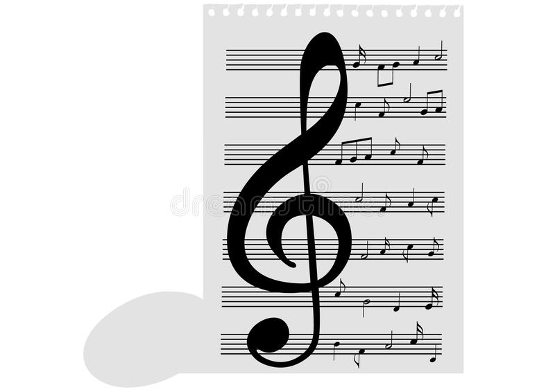 Illustration of a music-sheet and a music note. On white vector illustration