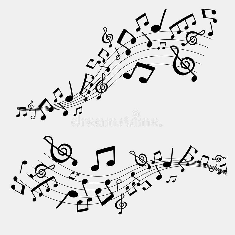 Illustration of musical notes, black and white color vector illustration