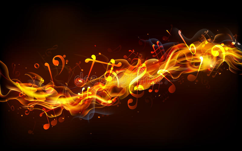 Fiery Treble Clef In Rainbow Flames: Fiery Music Stock Vector. Illustration Of Energy, Ignite