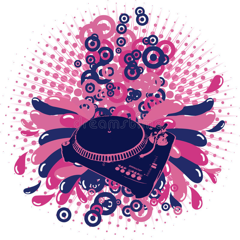 Download Illustration On A Musical Theme With Turntable Stock Vector - Image: 4572613