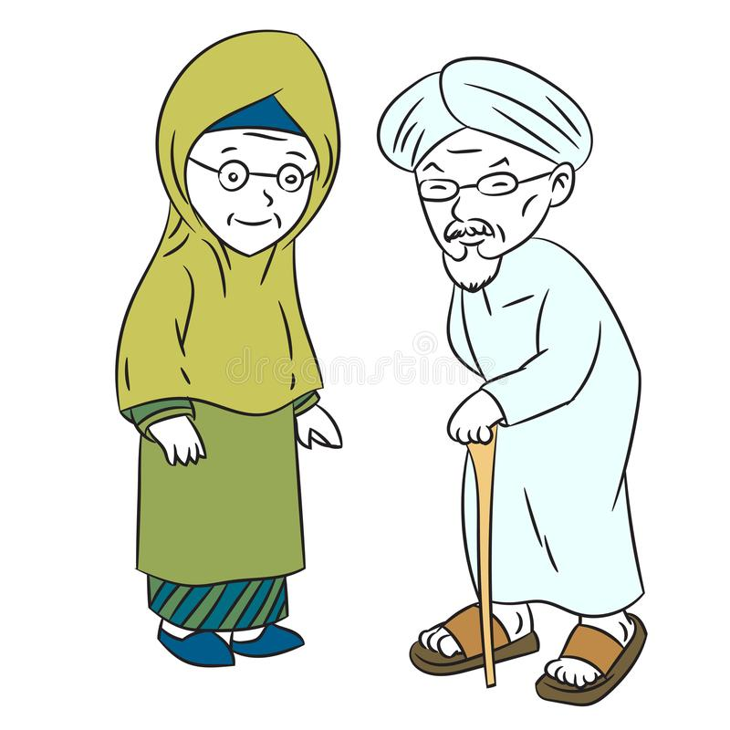 Illustration of Muslim Elderly Cartoon -Character Vector. Illustration of Muslim Elderly Cartoon, older man and woman standing, isolated on white background vector illustration