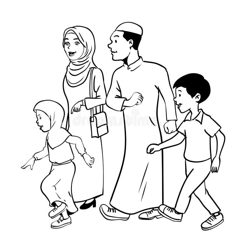 Illustration of Muslim family Waliking - Vector Hand drawn stock illustration