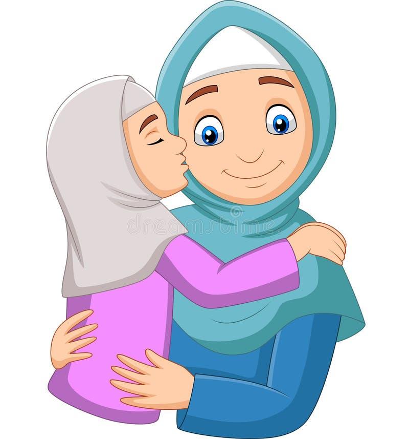 Muslim girl kissing her mother`s cheek stock illustration