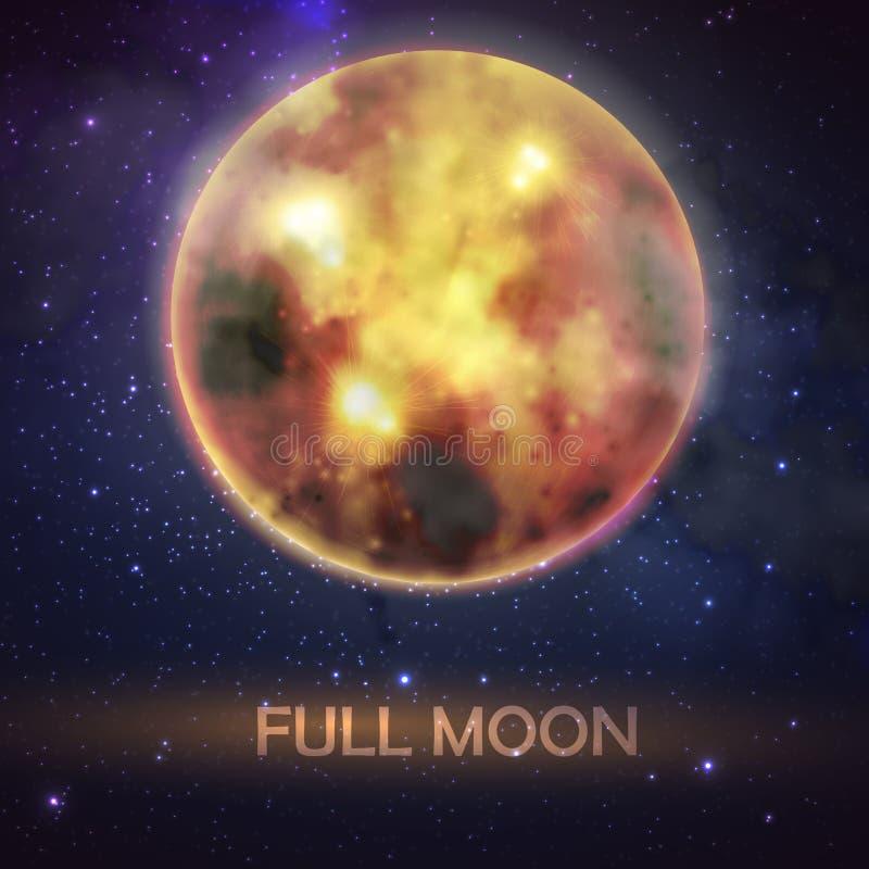 Illustration mystique de pleine lune ensanglantée sur le fond de ciel nocturne Conception de décoration de Halloween illustration libre de droits
