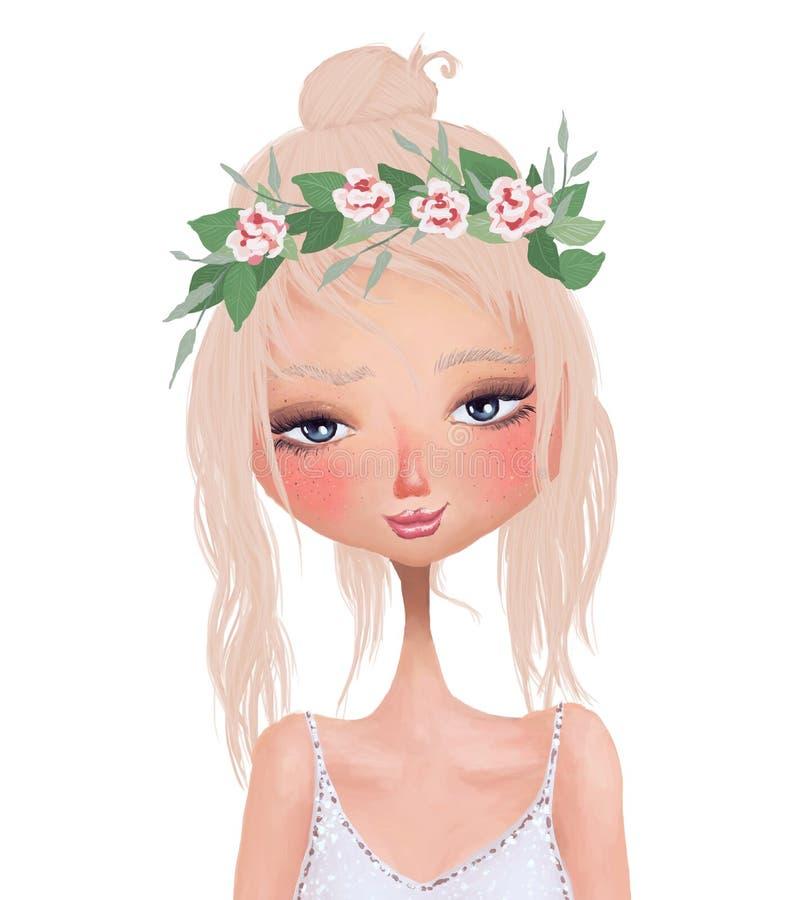 Illustration négligente colorée d'isolement de trame d'été d'une belle blonde mignonne portant la guirlande de fines herbes flora illustration stock