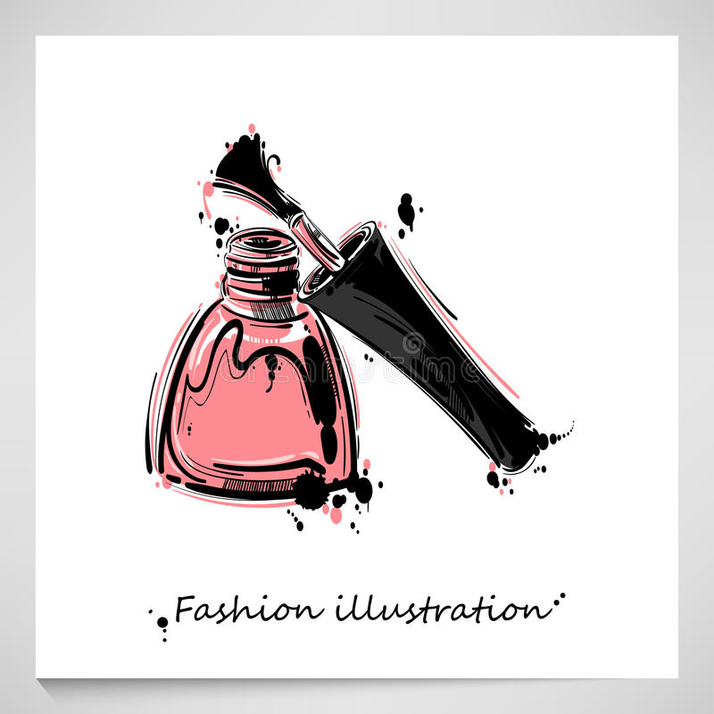 Illustration of nail polish. stock photo