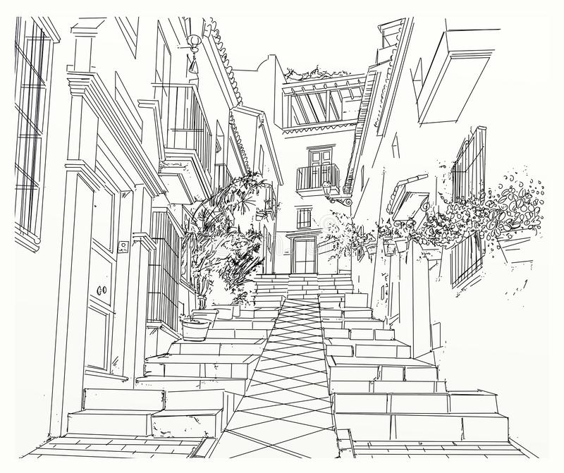 Narrow alley in city royalty free illustration
