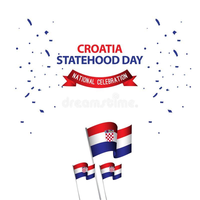 Illustration nationale de conception de calibre de vecteur de célébration de jour de Statehood de la Croatie illustration de vecteur