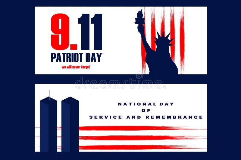 Illustration nationale de jour de liberté avec la statue de Libertyll et des tours de World Trade Center illustration libre de droits