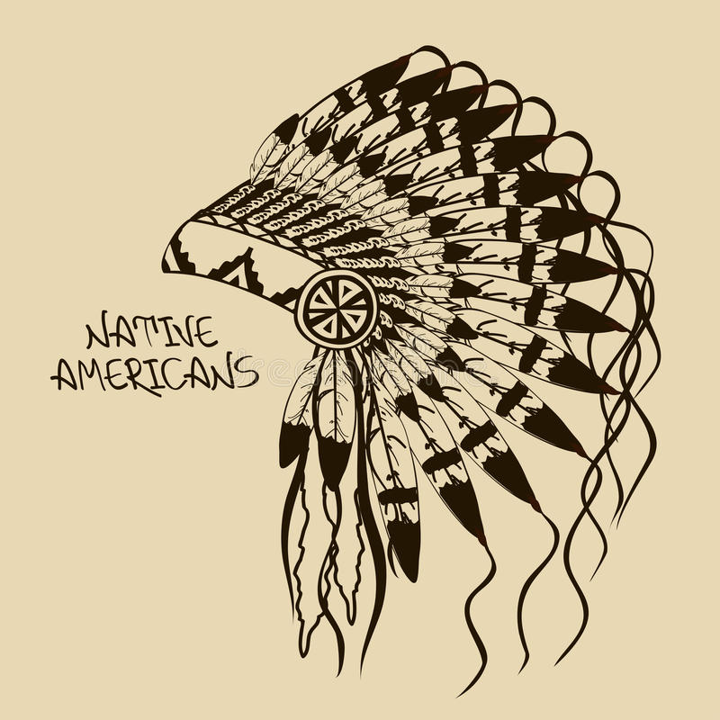 Illustration with Native American Indian chief headdress royalty free illustration