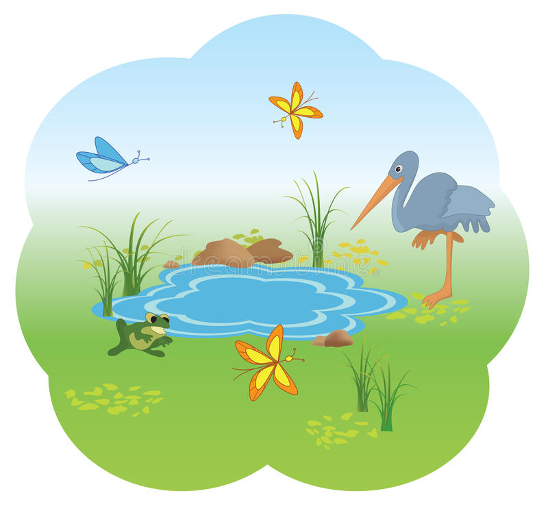 Download Illustration Of Nature With  Blue Lake - Vector Stock Vector - Illustration of animal, frog: 19223941