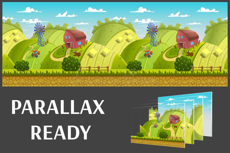 Illustration of a nature landscape ,with green hills and fields, vector unending background with separated layers. royalty free illustration