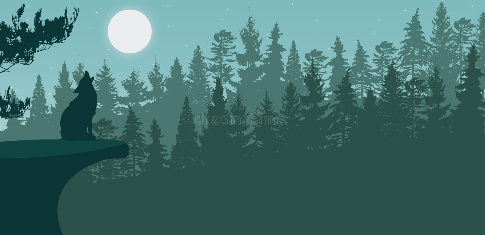 Illustration of Nature landscape with wolf howling at moon. Silhouette Illustration of Nature landscape with wolf howling at moon stock illustration