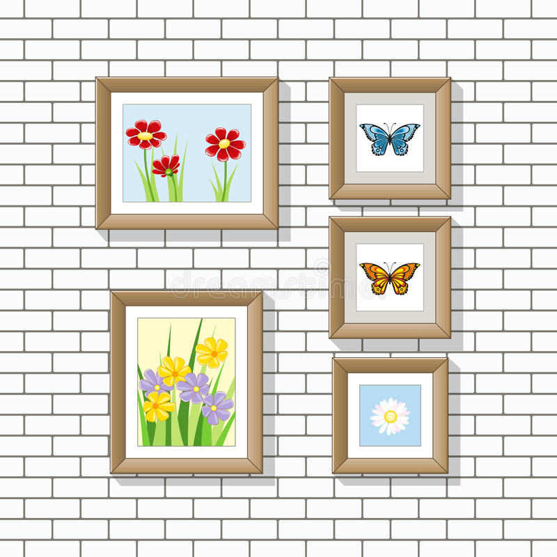 Illustration of nature pictures on a wall stock illustration