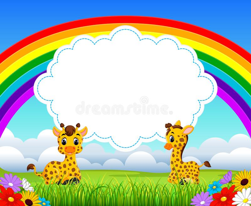 The nature view with the cloud board blank space and two baby giraffe playing. Illustration of the nature view with the cloud board blank space and two baby vector illustration