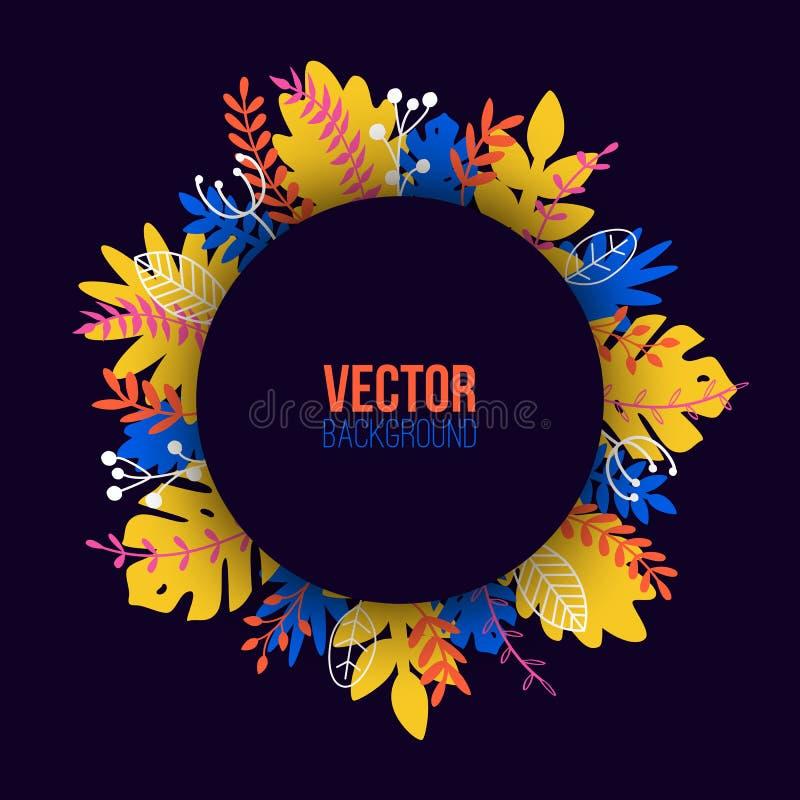 Illustration naturelle de vecteur dans le style plat à la mode avec les plantes, les fleurs, les feuilles et l'endroit exotiques  illustration de vecteur
