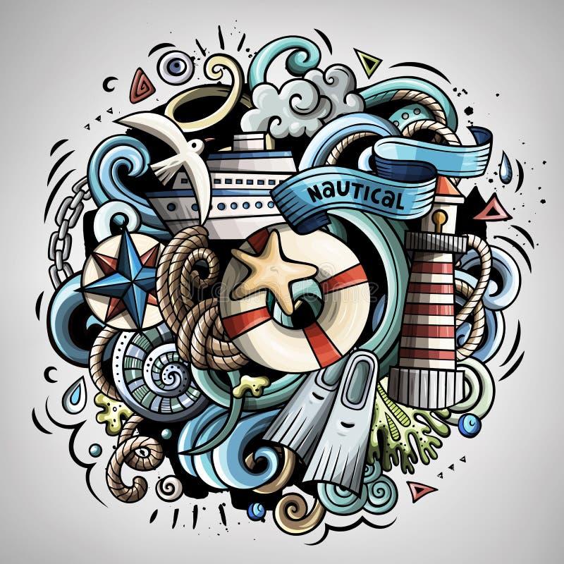 Illustration nautique de griffonnage de vecteur de bande dessinée illustration de vecteur