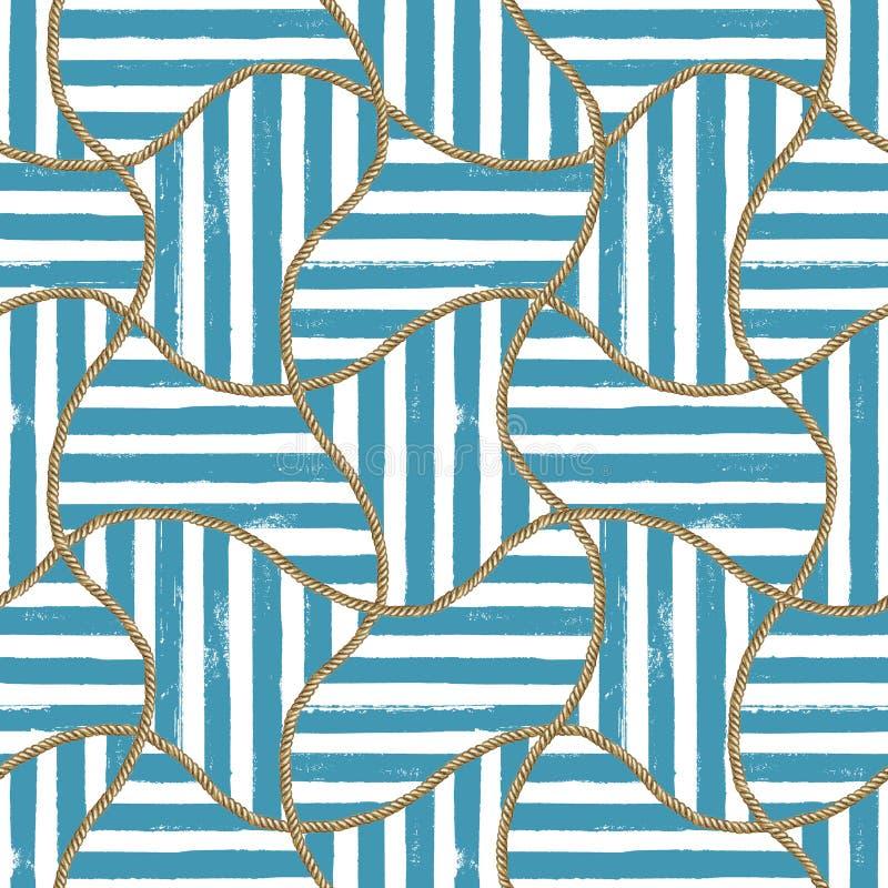 Illustration nautique de mer sans couture de mod?le Texture tir?e par la main de mode d'aquarelle avec des cordes illustration stock