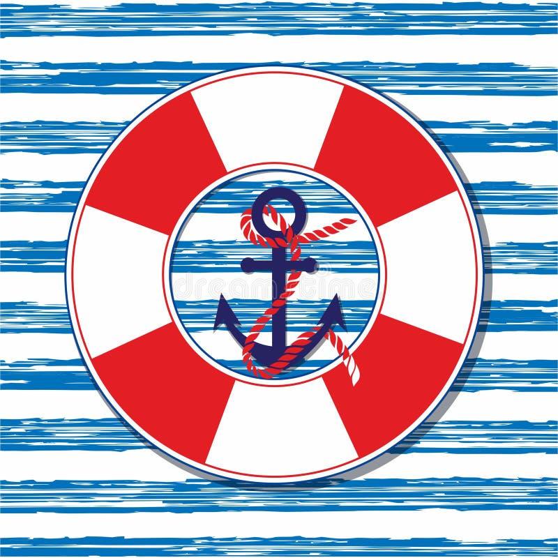 Illustration nautique de vecteur Illustration marine avec une ancre et une ligne de sauvetage illustration stock