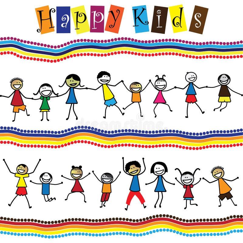 Illustration - nette Kinder (Kinder) zusammen springend u. tanzend vektor abbildung